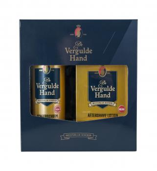 Vergulde Hand Cadeauset After Shave Lotion & Scheerschuim
