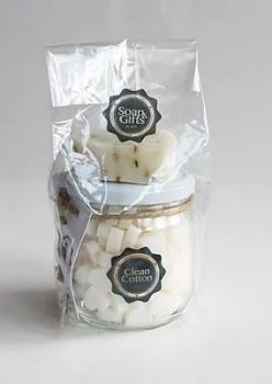Soap & Gifts Giftset Glazen pot met mini zeepjes en Soap on a rope Clean Cotton