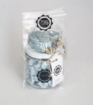 Soap & Gifts Giftset Glazen pot met mini zeepjes en Soap on a rope Ocean Blue