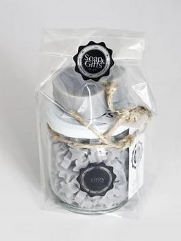 Soap & Gifts Giftset Glazen pot met mini zeepjes en Soap on a rope Grey