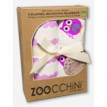 Zoocchini Baby Flanellen Deken 2 stuks Paars & Uil