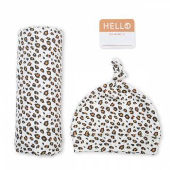 Lulujo Hello World Swaddle&Hat   Leopard