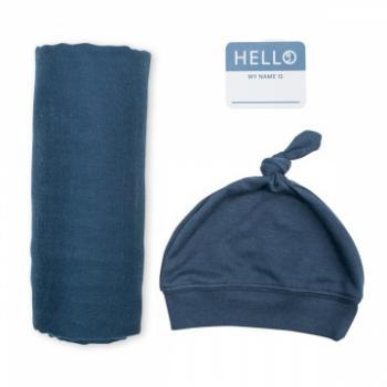 Lulujo Hello World Swaddle&Hat   Navy