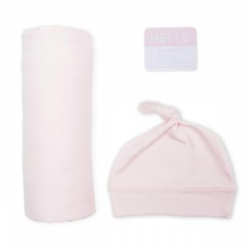Lulujo Hello World Swaddle&Hat   Pink